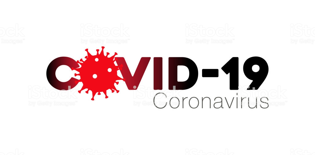 Covid-19 Coronavirus concept inscription typography design logo, Contagious diseases of the characters when exposed to a virus, dangerous virus vector illustration